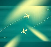 Background of flying planes by artgrpx
