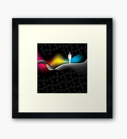 man with puzzle background Framed Print
