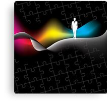 man with puzzle background Canvas Print