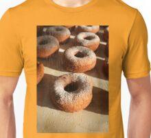 Sweet powder sugar falling at homemade donuts Unisex T-Shirt