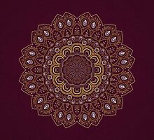 Gold Mandala Mosaic on Royal Red Background by Lena127