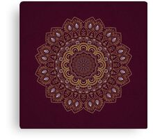 Gold Mandala Mosaic on Royal Red Background Canvas Print