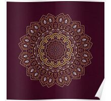 Gold Mandala Mosaic on Royal Red Background Poster