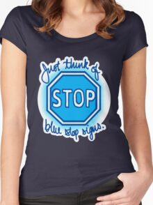 Undertale Blue Stop Signs Women's Fitted Scoop T-Shirt