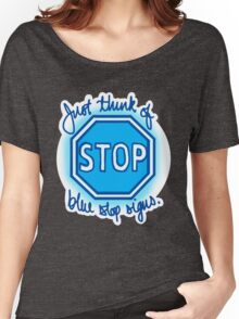 Undertale Blue Stop Signs Women's Relaxed Fit T-Shirt