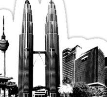 Kuala Lumpur skyline black Sticker