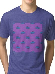 Blue Car on Pink Pattern Tri-blend T-Shirt
