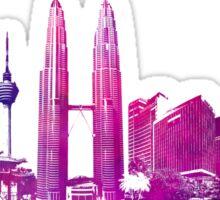 Kuala Lumpur skyline purple Sticker
