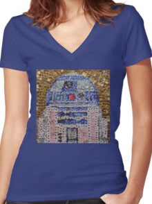 The Smartest Droid of All - Bottle Cap Mosaic Women's Fitted V-Neck T-Shirt