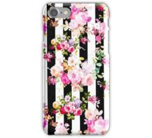 Black and white stripes bright pink roses floral iPhone Case/Skin
