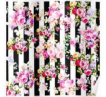 Black and white stripes bright pink roses floral Poster