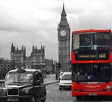 Big Ben and Double Decker Bus by halleyrobbins