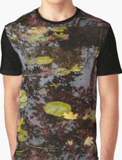 Fall Pond Reflections - a Story of Waterlilies and Japanese Maple Trees - Take One Graphic T-Shirt