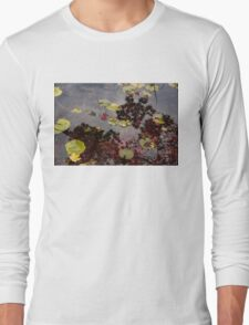 Fall Pond Reflections - a Story of Waterlilies and Japanese Maple Trees - Take Two T-Shirt