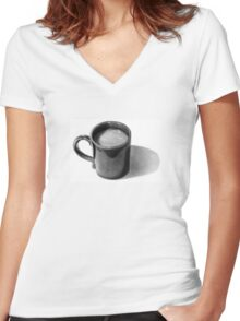 Coffee Time: Mug with Coffee: Pencil Drawing Women's Fitted V-Neck T-Shirt