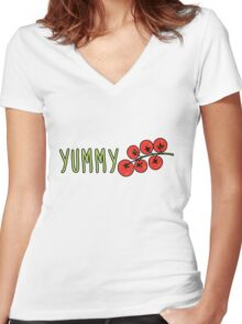 Yummy Tomatoes Women's Fitted V-Neck T-Shirt