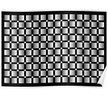 Pattern of grey squares with black background. Poster