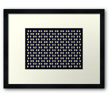 Pattern of blue and yellow squares with black background. Framed Print