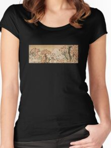 'Mount Fuji Behind Cherry Tree and Flowers' by Katsushika Hokusai (Reproduction) Women's Fitted Scoop T-Shirt