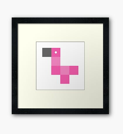 Pixel by pixel – Flamingo Framed Print