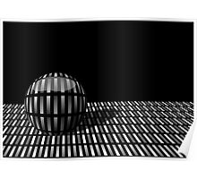 Pattern of grey rectangles with with a ball on a  black background. Poster