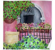 Bouganvilla and Geraniums Poster