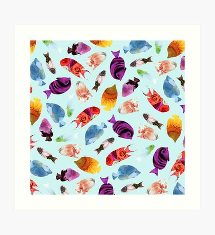 Fish shaped Flowers Art Print