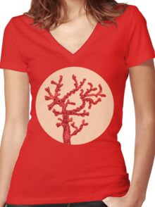 Red coral Women's Fitted V-Neck T-Shirt