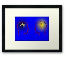 Head Silhouettes with heards and flashes and a blue background Framed Print