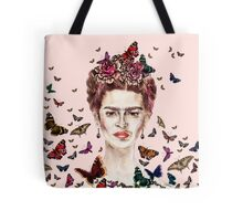 Frida Kahlo Flowers Butterflies Tote Bag