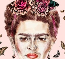 Frida Kahlo Flowers Butterflies Sticker