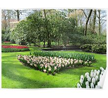 Beds of Red Tulips and Pink Hyacinths - Keukenhof Gardens Poster
