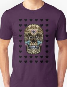 Love Hearts Skull 2  Death Goth Dark Green Halloween Dead Day Unisex T-Shirt