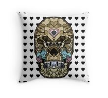 Love Hearts Skull 2  Death Goth Dark Green Halloween Dead Day Throw Pillow