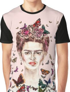 Frida Kahlo Flowers Butterflies Graphic T-Shirt