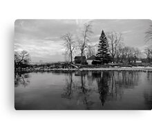 Sanctuary on the lake in black and white Canvas Print