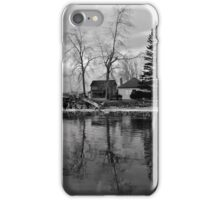 Sanctuary on the lake in black and white iPhone Case/Skin