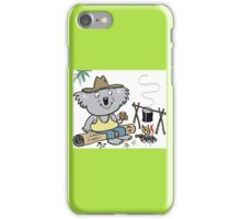 Cartoon koala bear sitting by campfire in outback iPhone Case/Skin