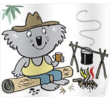 Cartoon koala bear sitting by campfire in outback Poster