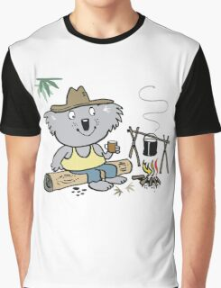 Cartoon koala bear sitting by campfire in outback Graphic T-Shirt