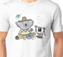 Cartoon koala bear sitting by campfire in outback Unisex T-Shirt