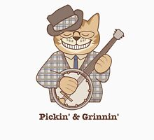 Picking and Grinning Bluegrass Banjo Cat Unisex T-Shirt