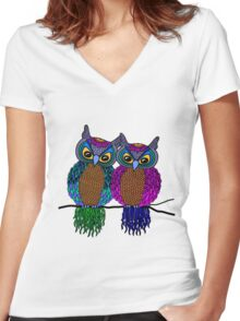 Owls in love colour Women's Fitted V-Neck T-Shirt