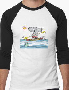 Cartoon of happy koala on paddle board Men's Baseball ¾ T-Shirt