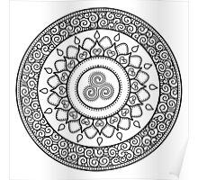 Moon mandala Celtic spirals black Poster