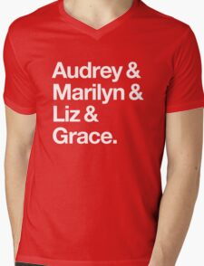 Helvetica Audrey and Marilyn and Liz and Grace. (White on Dark Background) Mens V-Neck T-Shirt