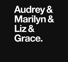 Helvetica Audrey and Marilyn and Liz and Grace. (White on Dark Background) Women's Fitted Scoop T-Shirt
