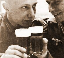 Two German Comrades enjoying a cold one during WW2 by Obama666