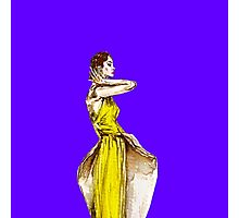 Lady Calla Lily Vintage Fashion Dress in Yellow on Violet Blue Photographic Print