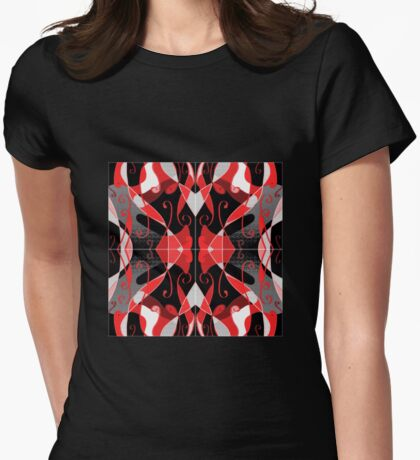 QUEEN of HEARTS red, black and silver design Womens Fitted T-Shirt